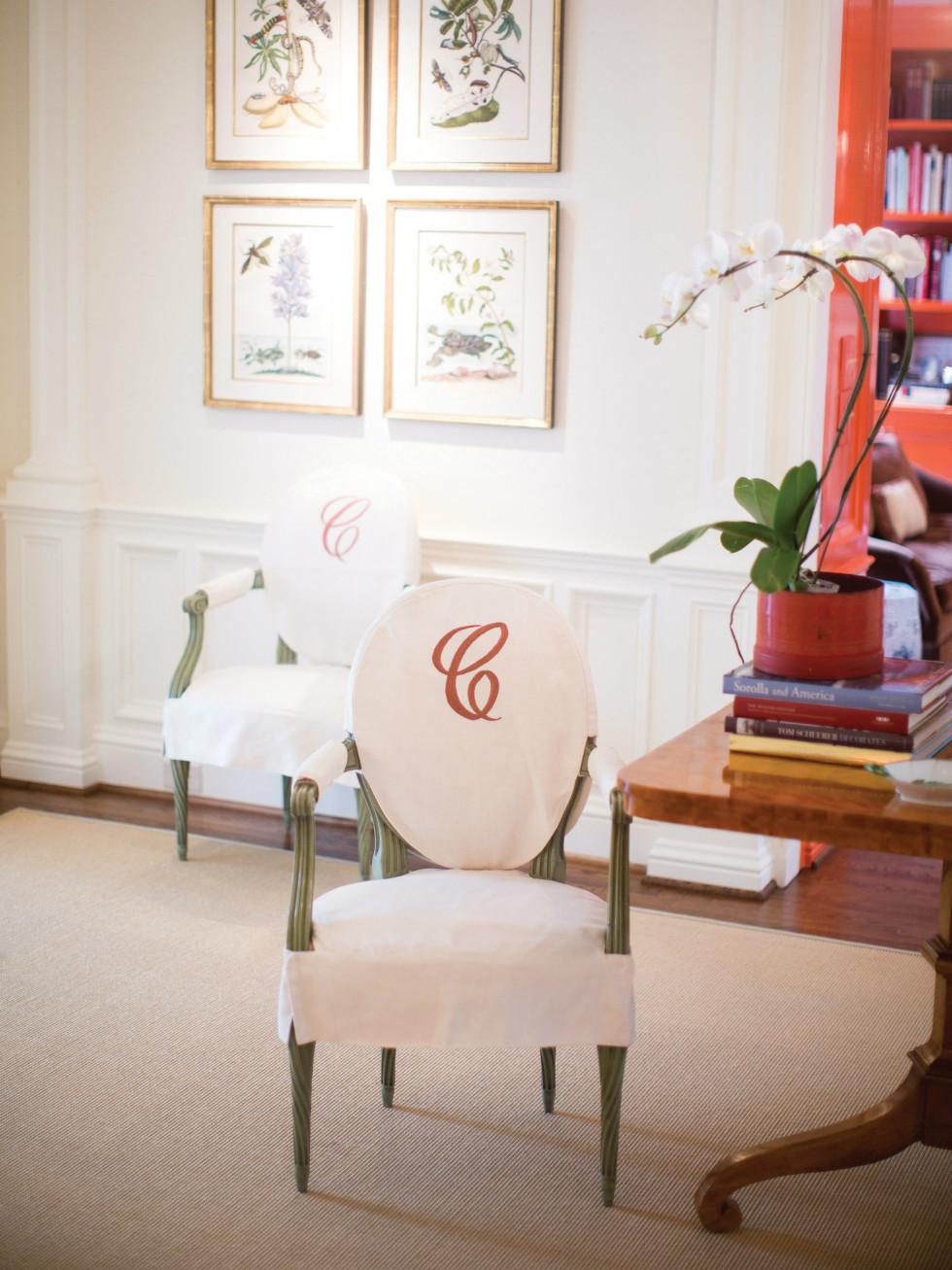 Monogrammed chair slip cover