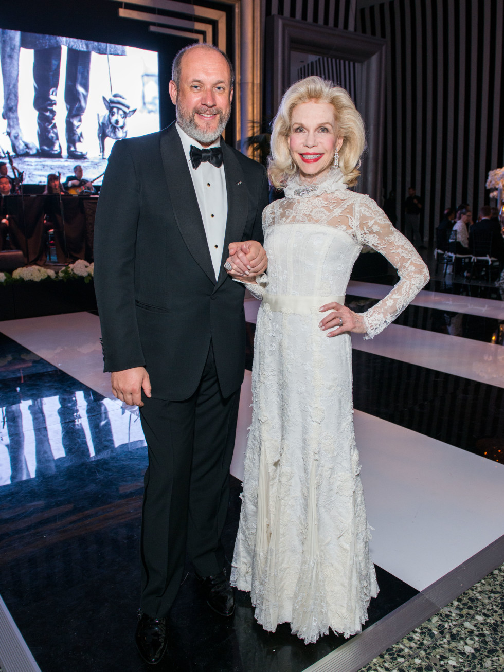 News, Shelby, MFAH gala gowns, Oct. 2015 Lynn Wyatt with Peter Copping