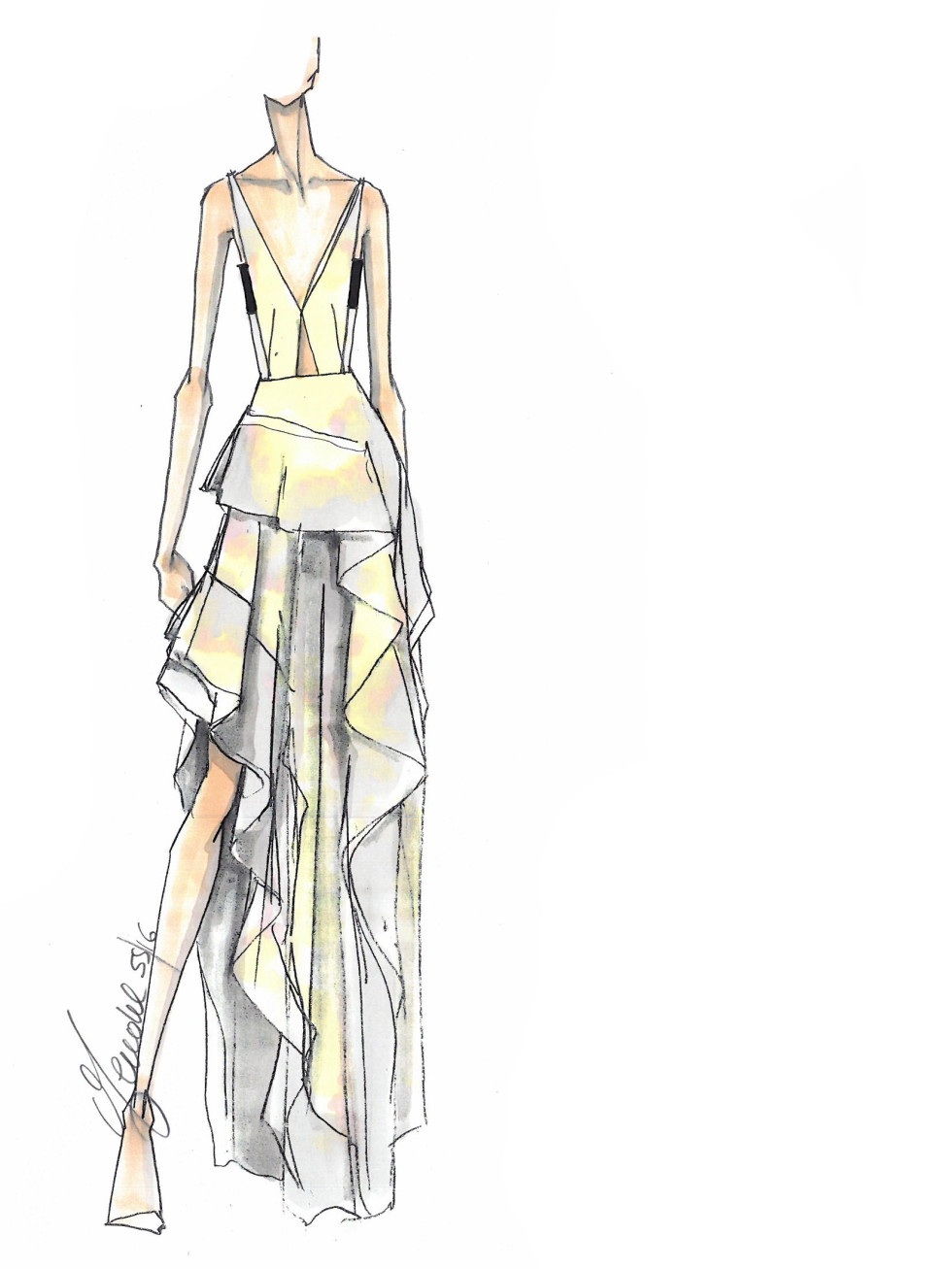 J Mendel inspiration sketch for New York Fashion Week spring 2016