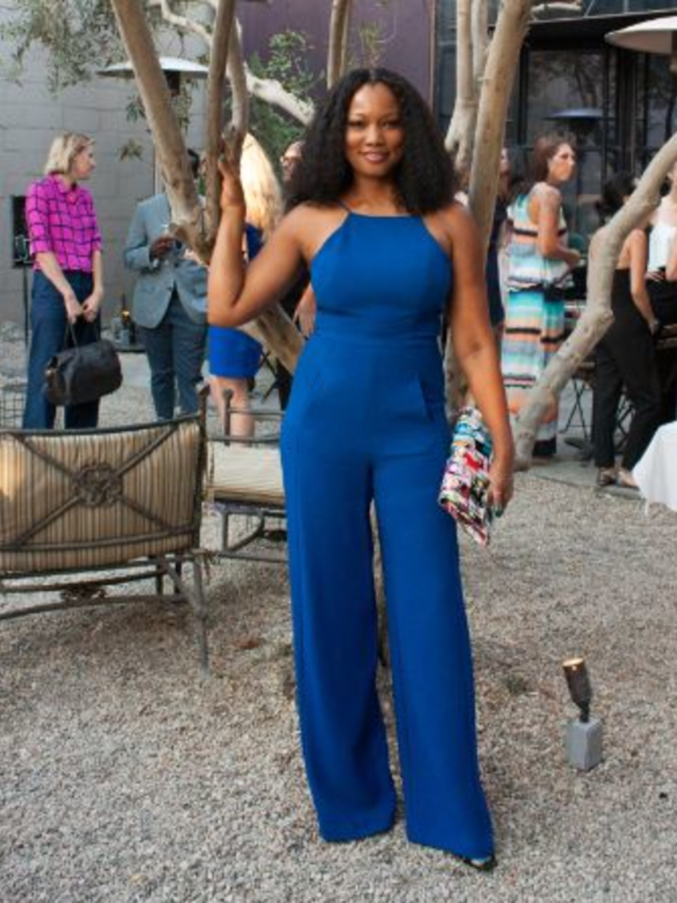 Garcelle Beauvais in Black Halo Joaquin jumpsuit
