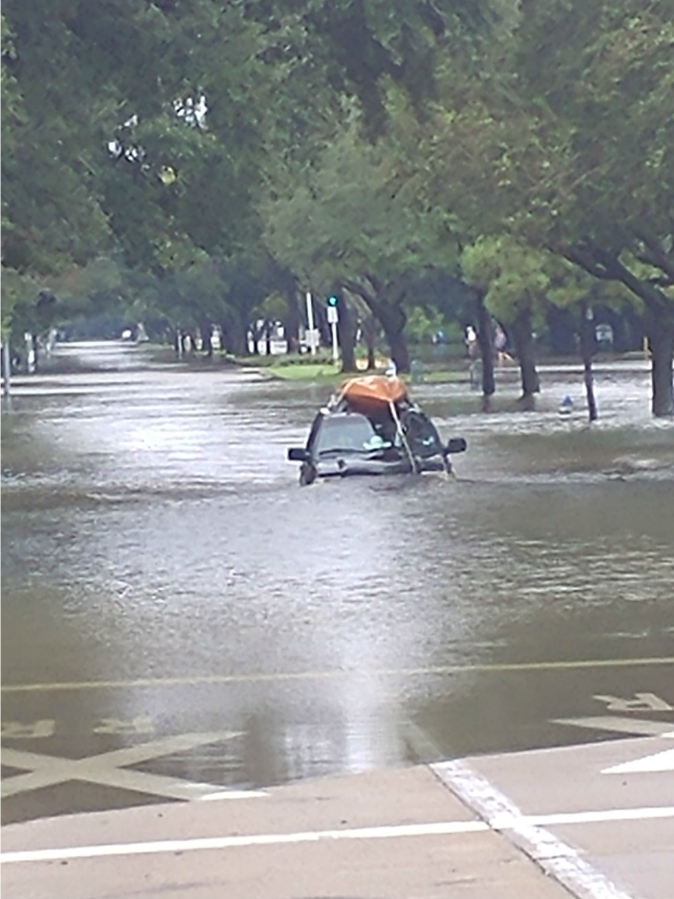 Hurricane Harvey flooding in Houston Bellaire Boulevard