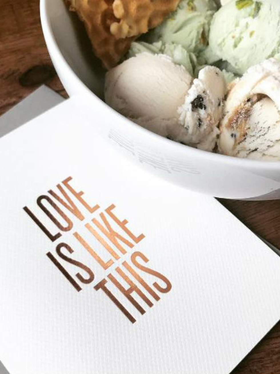 Read Between the Lines card and ice cream