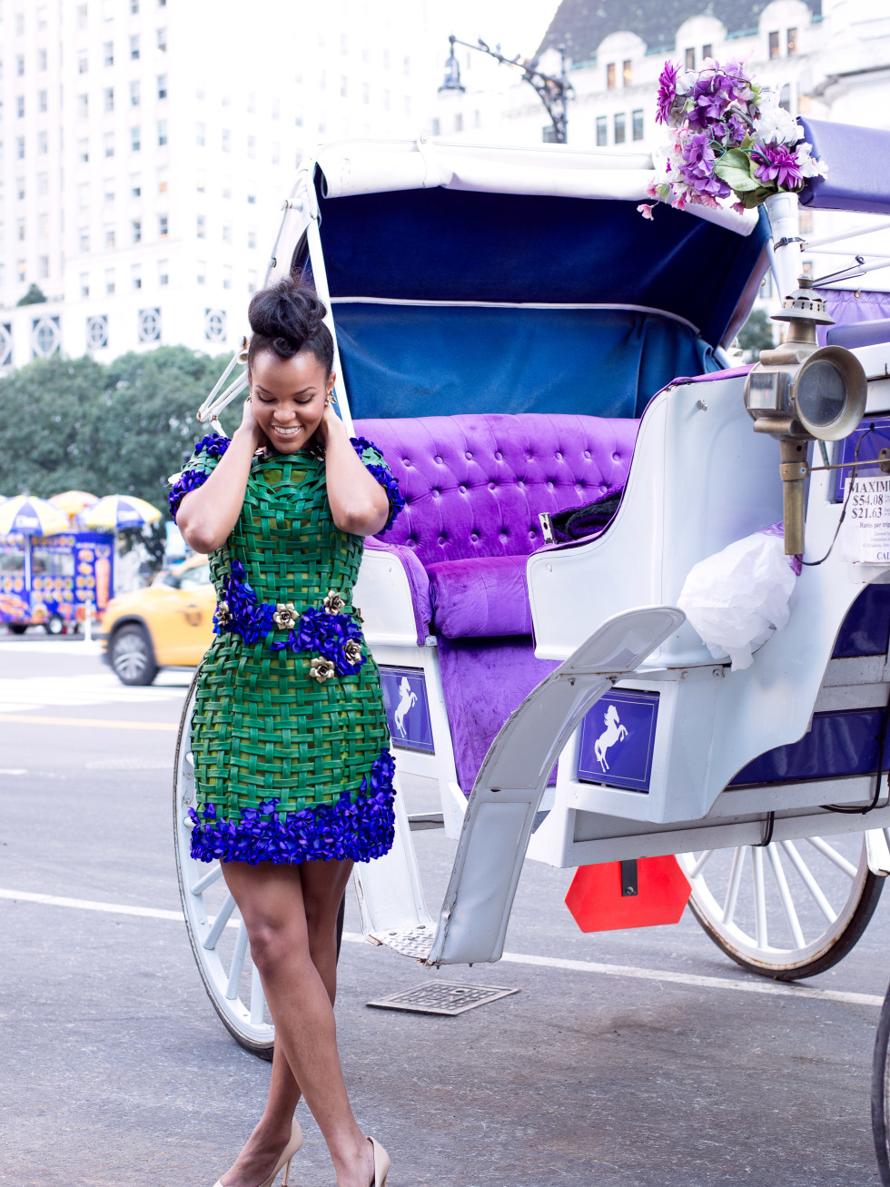 Chasity Sereal floral outfit on streets of New York