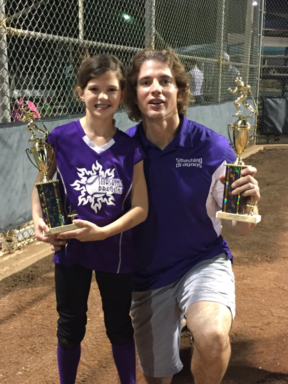 Chris McDowell and daughter at softball