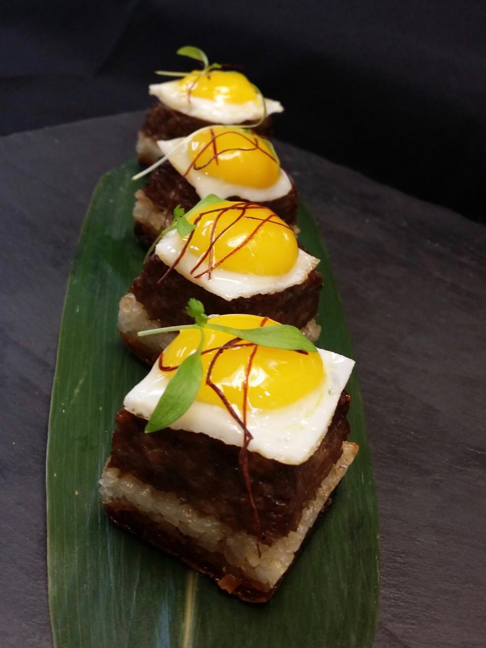 Uptown sushi kobe cubes with quail egg