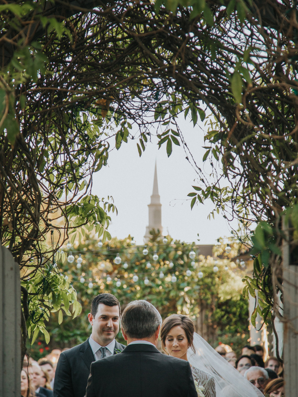 Outdoor vows, steeple