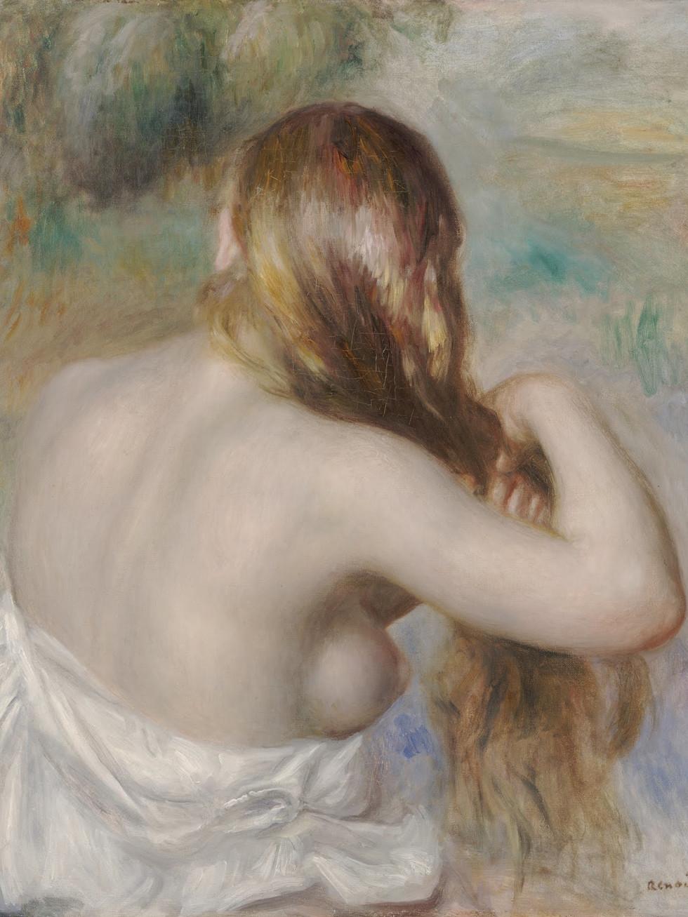 Renoir, Blonde Braiding her Hair