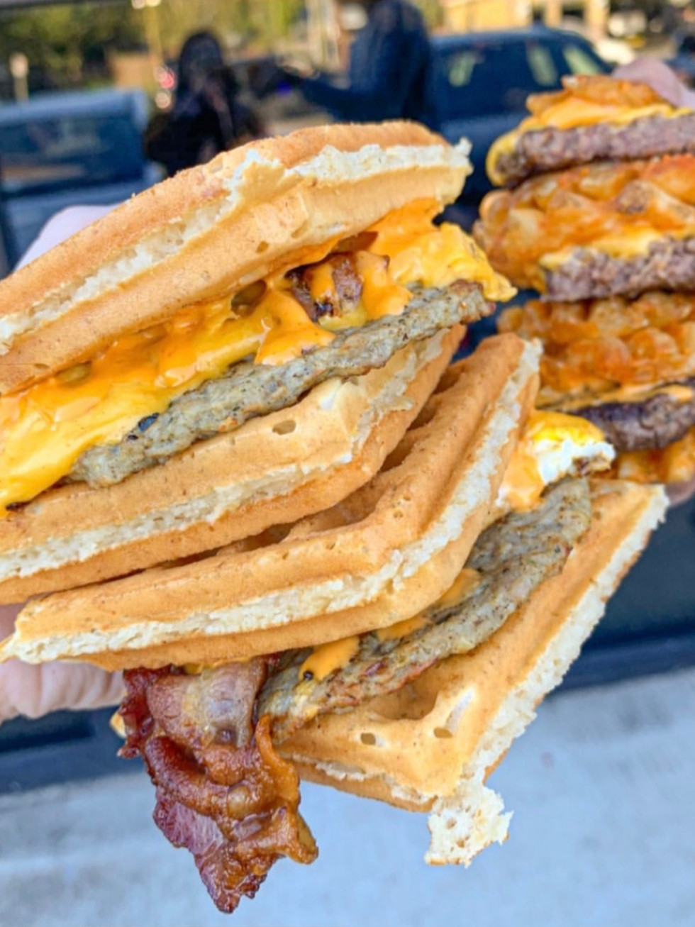 The Waffle Bus Heights sandwich burger