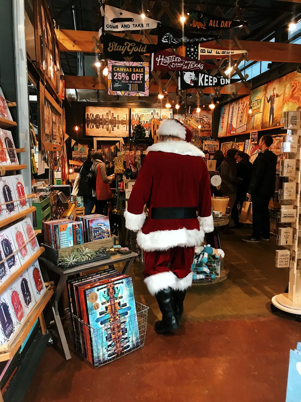 Santa shopping at Dallas Farmers Market