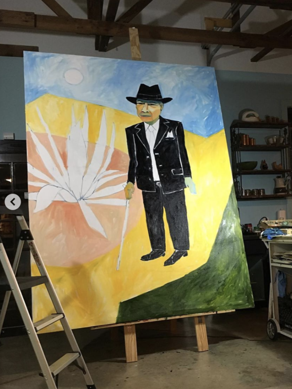 Tomás Ybarra-Frausto in an Aztlán dream by Cruz Ortiz