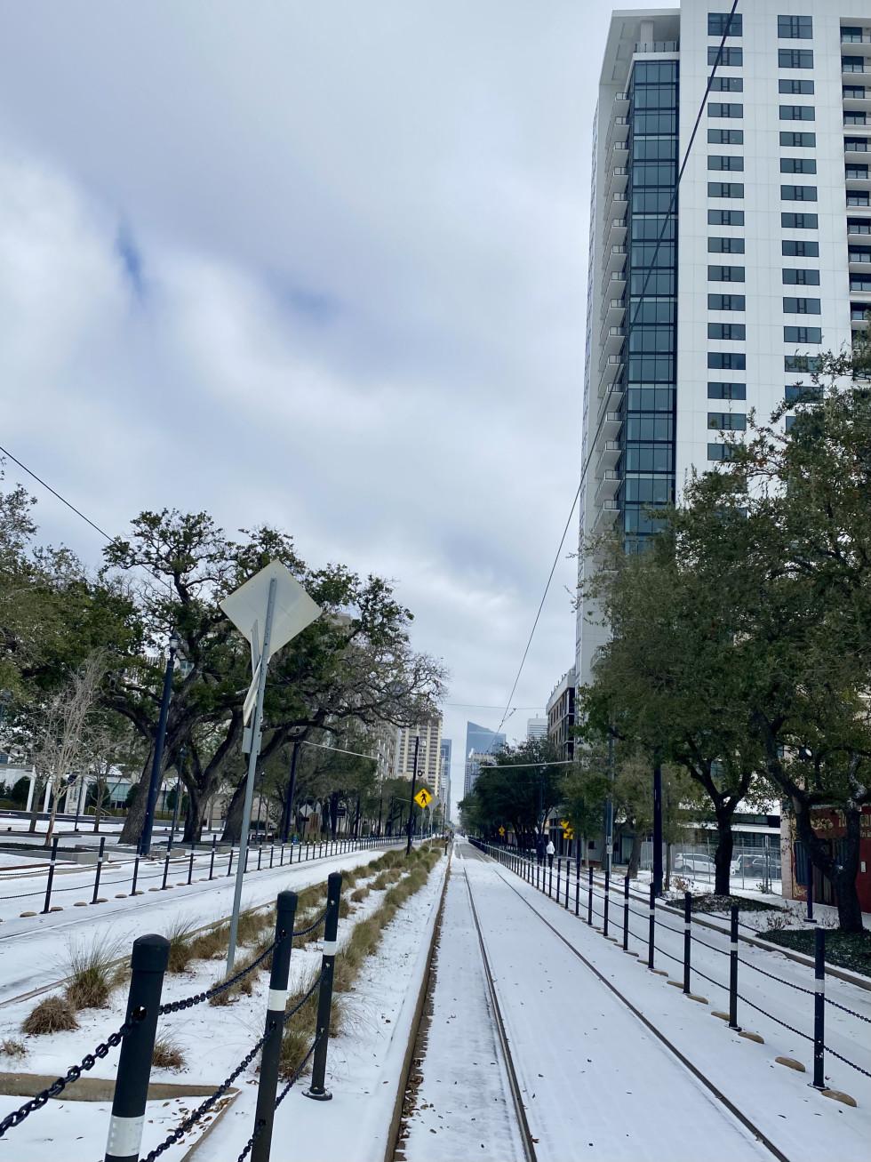 Houston Midtown light rail snow