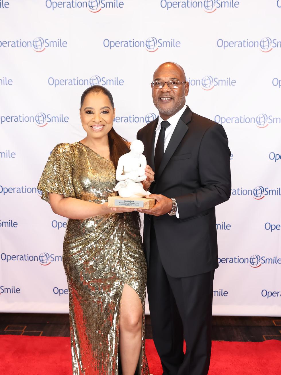 Operation Smile Gala 2021 04 John Connor Humanitarian Award recipients Shawntell and Keith McWilliams