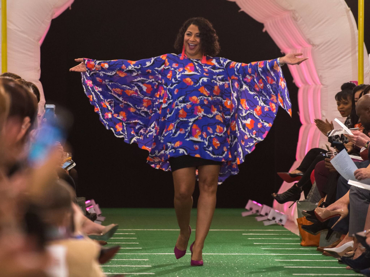 af84f509064 Janet Dorsett walked the football field runway with pizzazz. Photo By  Catchlight Group