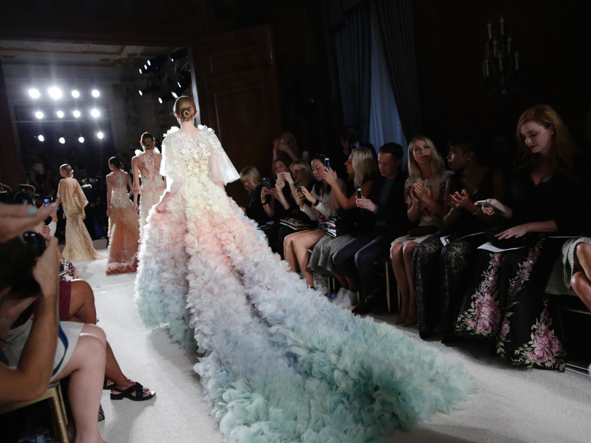 fa098e8c04 Sheer energy at Marchesa with fairy tale gowns and Cinderella slippers