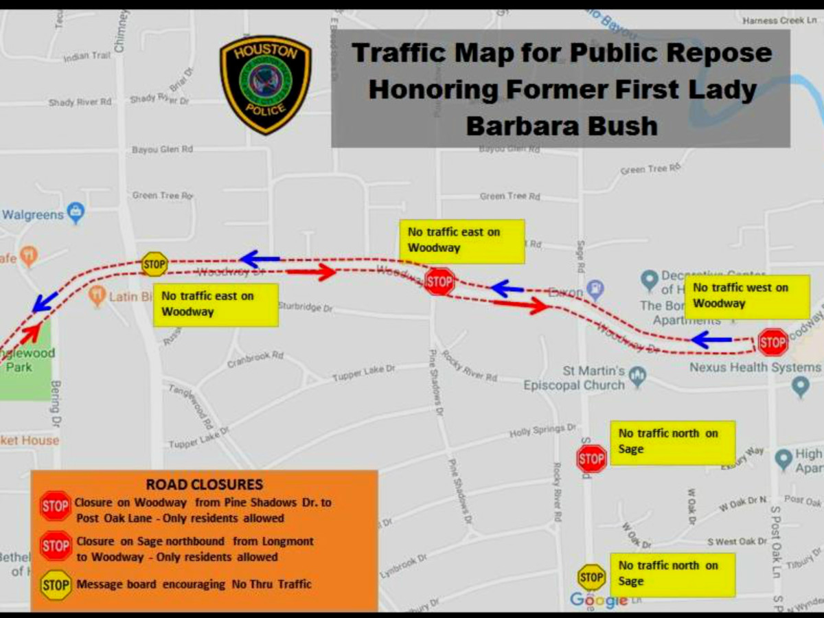 HPD releases road closures, safety details on Barbara Bush