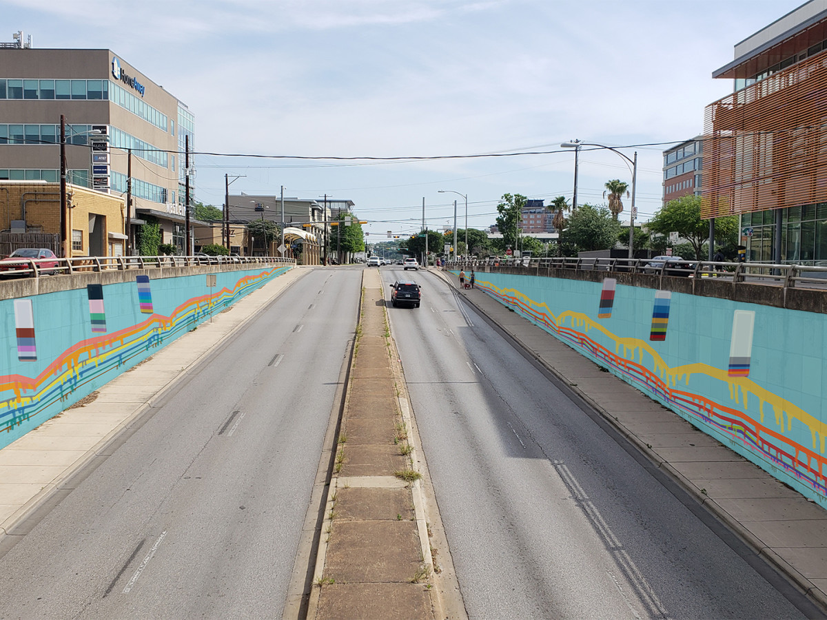 Colorful New Mural Gives Busy North Lamar Boulevard