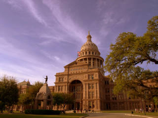 Texas State Capitol in Austin at dusk
