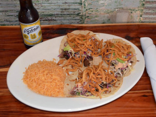 Carne and camarones tacos at Palapas Seafood Bar in Dallas