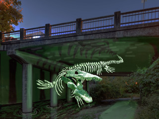 Waller Creek Show 2016 mosasaur Invisible and Absolute by Jules Buck Jones