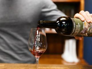 The Austin Winery Quarter Horse red blend tasting room glass