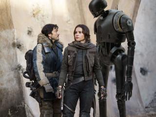 Diego Luna, Felicity Jones, and Alan Tudyk in Rogue One: A Star Wars Story
