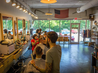 Shed Barbershop and Supply interior haircut