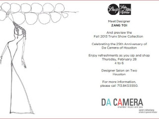 Designer appearance and trunk show: Zang Toi benefiting Da Camera
