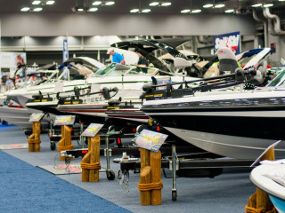 row of boats for the Austin Boat Show and Travel Trailer Show