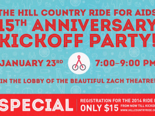 poster for Hill Country Ride for AIDS 2014 kickoff party
