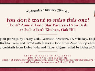 flyer for fourth annual Lone Star Paralysis Bourbon Bash at Jack Allen's