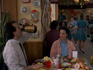 Bill Murray and Andy MadDowell in a diner from Groundhog Day