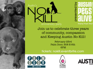 flyer for the Austin Pets Alive! No-Kill Anniversary Party
