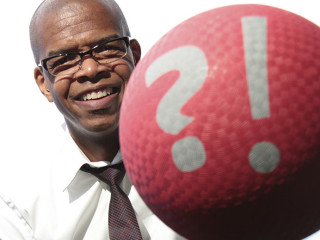 motivational speaker Kevin Carroll aka Katalyst with red rubber ball