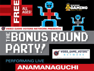 flyer for the Bonus Round Party with Anamanaguchi