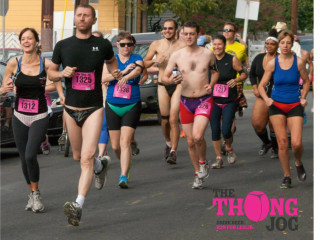 Participants in the annual Thong Jog of Austin