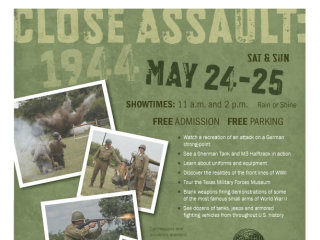 Texas Military Forces Museum at Camp Mabry poster for Close Assault 1944 reenactment