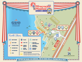 map of events on lake for Pflugerville Pfirecracker Pfestival 2014