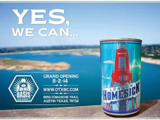 Oasis Texas brewing Company beer can Grand Opening