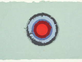Kenneth Noland (1924-2010), Circle11 (11-24), 1978, Five layers of colored pulp with one monotype lithography printing; Courtesy of Meredith Long & Company