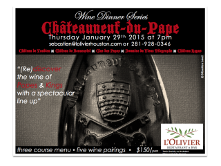 Châteauneuf-du-Pape Wine Dinner at L'Olivier