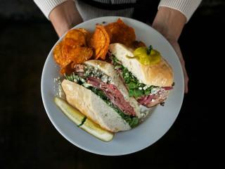 Walton's Fancy and Staple Austin restaurant roast beef bleu sandwich