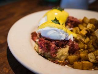 Counter Cafe East eggs benedict breakfast brunch dish