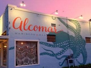 Alcomar Mariscos y Mas Austin restaurant exterior dusk 2015