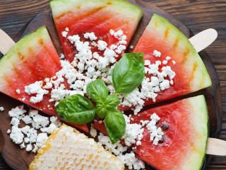 """Watermelon """"sashimi"""" from Cane Rosso for Hotel Thrillist event"""