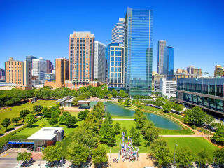 Discovery Green Houston aerial