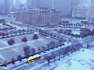 Downtown Dallas covered in ice