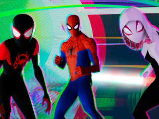 Spider-Man, Miles Morales, and Spider-Gwen in Spider-Man: Into the Spider-Verse