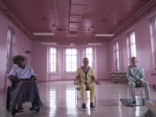 Samuel L. Jackson, James McAvoy, and Bruce Willis in Glass