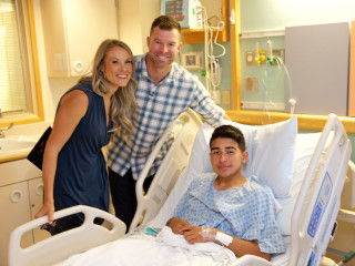 Amanda and Corey Kluber with patient