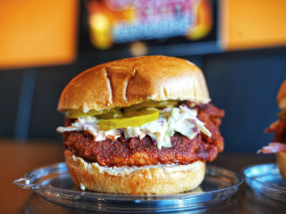 Clutch City Cluckers hot chicken sandwich